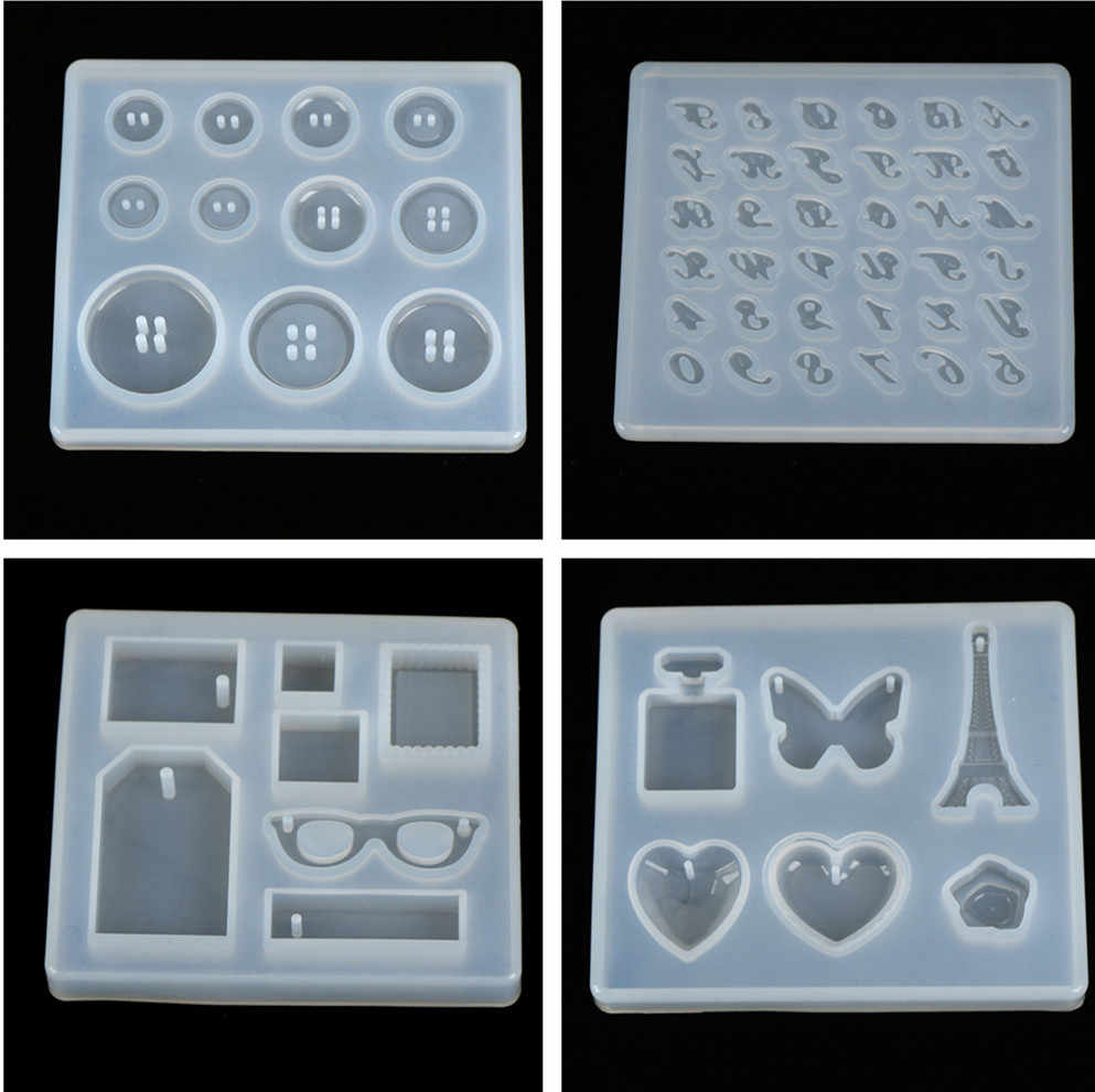 1PCS Epoxy Pendant Craft Tool Handmade DIY Silicone Mold Resin Buttons Heart Letter Pendant Jewelry Making Mould