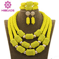 Fantastic Yellow African Wedding Beads Jewelry Set Handmade Crystal Statement Necklace Set Pendant for Bride Free Shipping WD554