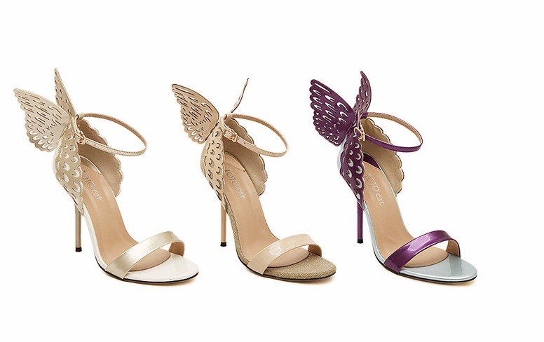 Boucle Sangle gold Minces Hauts Toe Style Chaussures Style Mode Fête Sandales Dame gold Matraquent Modèle Peep Chaude Femmes Talons Vendu purple Pour Papillon Proche gold Aile Silver 2nd beige Z8Ox0qx1w