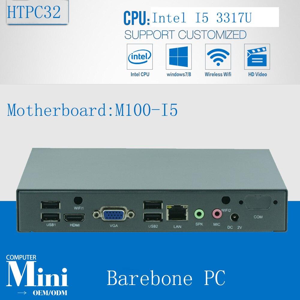 Оригинальный NUC fanless Dual Intel Core i5 3317u главный компьютер Barebone HTPC материнских плат мини гостиная PC 3 годовая гарантия