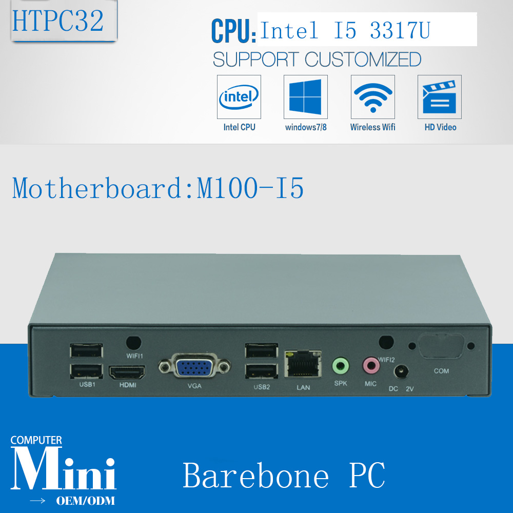 Original NUC Fanless DUAL-core Intel I5 3317U Host Machine Barebone HTPC Motherboard Mini Living Room PC  3 Year Warranty