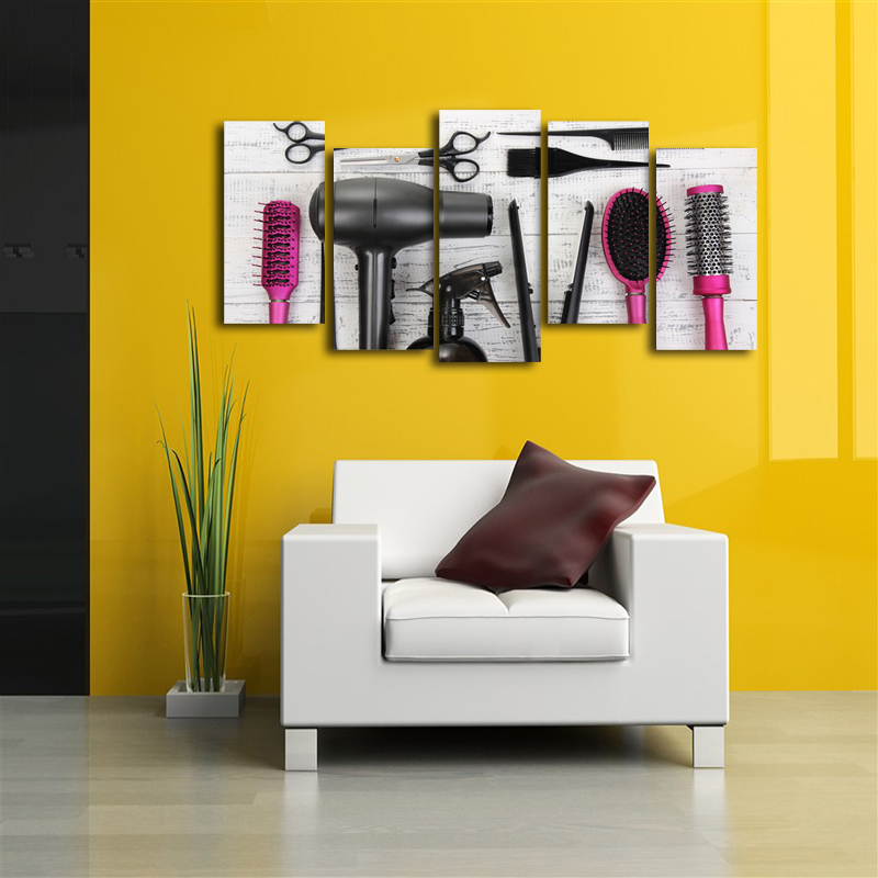HD 5 Piece Canvas Wall Art Hair Dryer Machine Comb Hairdressing Tool ...
