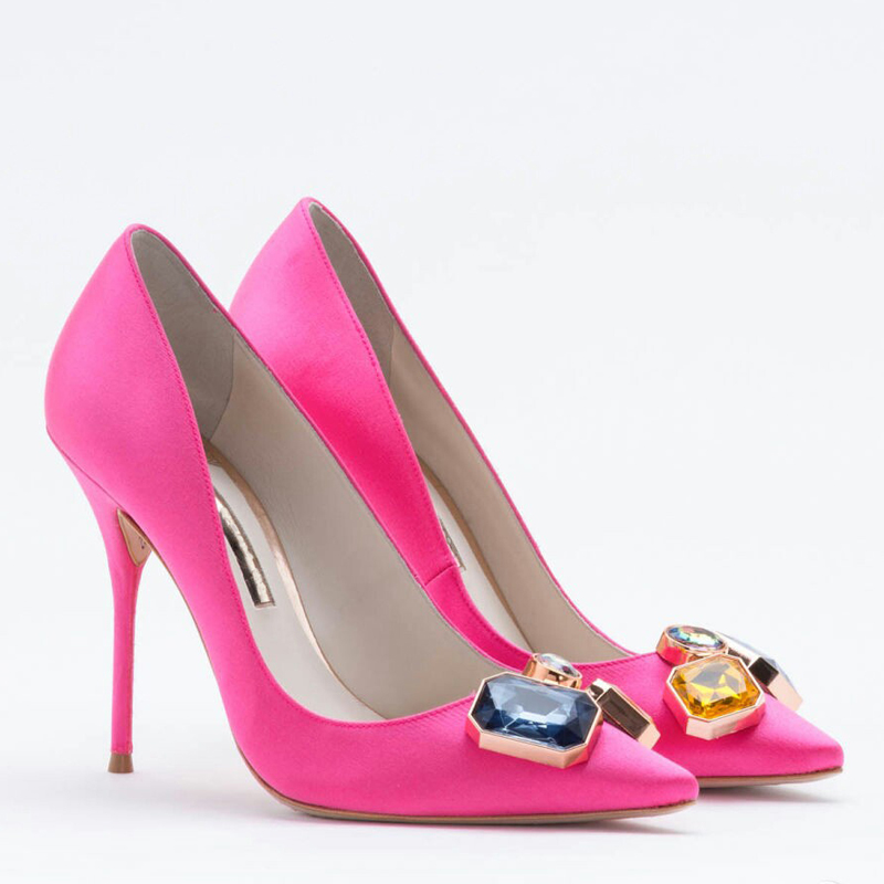 Aidocrystal 2017 New Arrival Women Sexy Shoes Pumps Rhinestone Toe Beautiful Office Dress High Heels for Ladies aidocrystal popular beautiful high heel pink all leather dress shoes