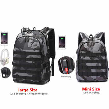 PUBG Backpack Men School Bag Mochila Pubg Battlefield Infantry Pack Camouflage Travel Canvas USB Headphone Jack Back Knapsack - DISCOUNT ITEM  35% OFF All Category