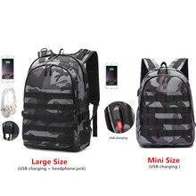 PUBG sırt çantası erkekler okul çantası Mochila Pubg savaş piyade paketi kamuflaj seyahat tuval USB kulaklık jakı arka sırt çantası