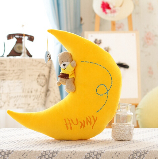 1 pc 40 cm Romântico Lua com Estrela Amor Almofada Travesseiro Brinquedos de Pelúcia de Presente Criativo Presente de Casamento Dia Dos Namorados presente