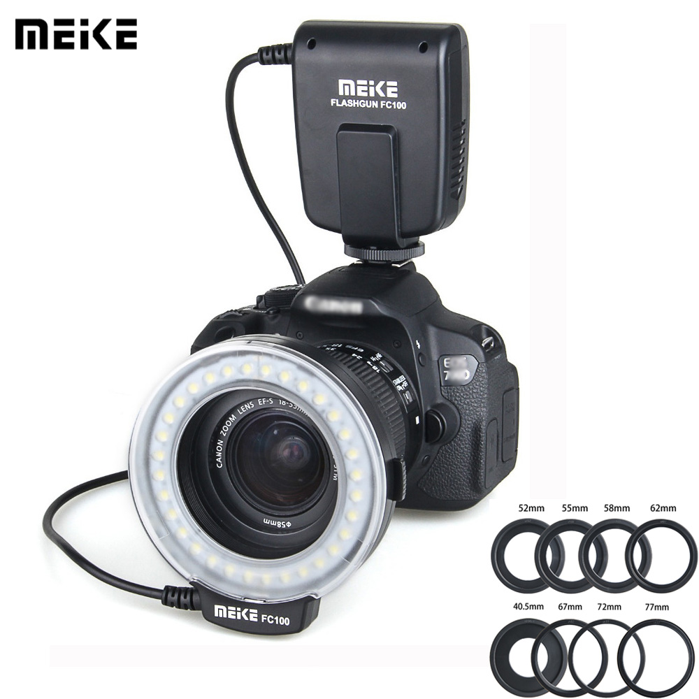 Meike FC 100 Speedlite Macro LED Ring Flash Light For Nikon Canon EOS 650D 700D 70D 7D II 60D T4i T3i 6D DSLR Camara Flashes потребительские товары cs pro cs 1 dslr 6d canon 5d 3 7 d t3i d800 d7100 d3300 pb039