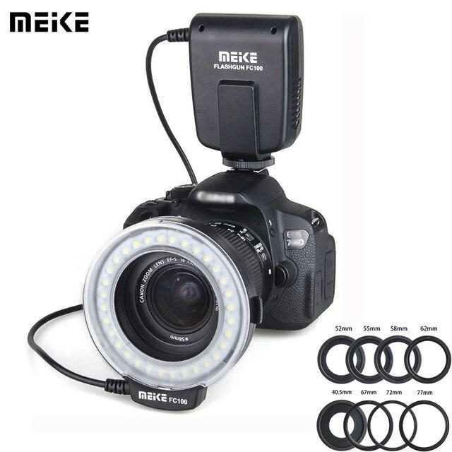 Meike FC 100 Speedlite Macro LED Ring Flash Light Studio Photo For Nikon Canon EOS 650D 700D 70D 7DII 60D T4i T3i 6D DSLR Camara