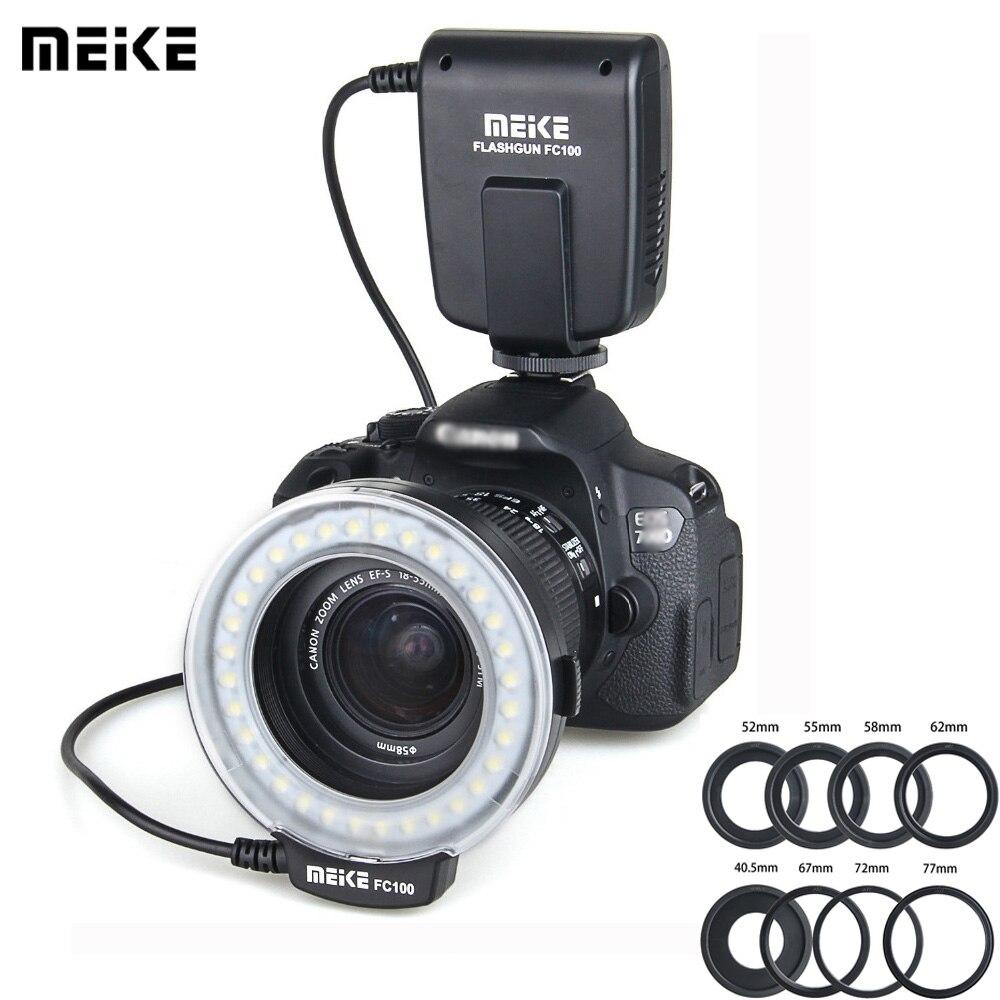 Meike FC 100 Speedlite Macro anillo LED Flash luz para Nikon Canon EOS 650D 700D 70D 7D II 60D T4i T3i 6D DSLR Camara Flashes