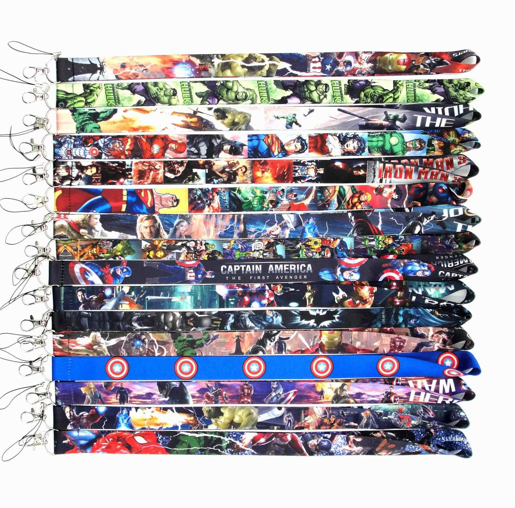 1pc Marvel Avengers Iron man อะนิเมะ Super Heros กัปตันอเมริกา Spiderman hulk Batman Lanyard Gym คอของเล่น