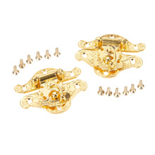 DRELD 2Pcs Antique Gold Box Latch Hasps Lock Catch Latches Furniture Hardware for Jewelry Box Suitcase Buckle Clip Clasp 38*49mm