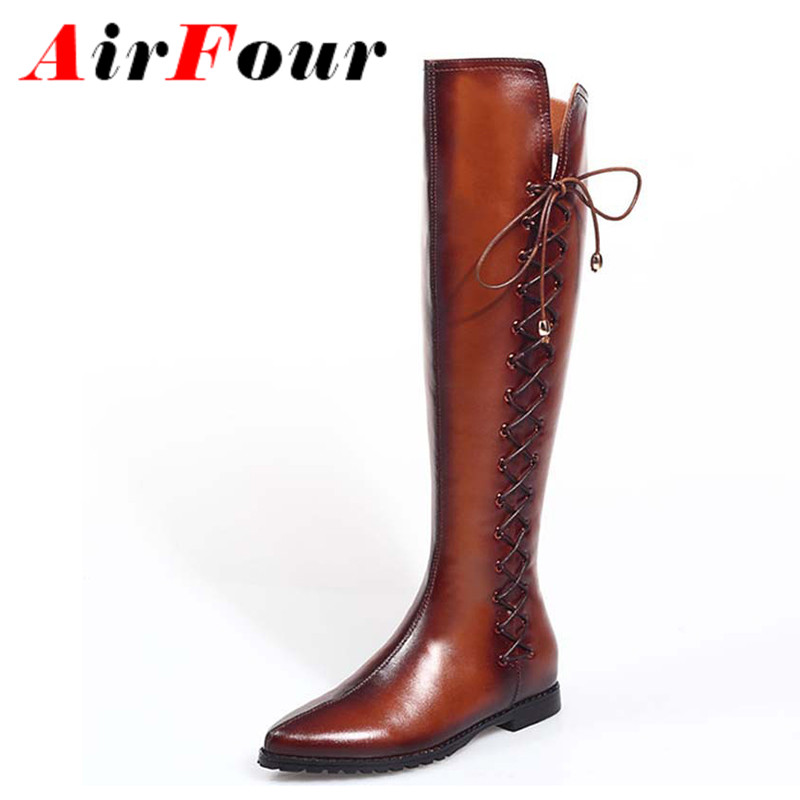 Airfour Sexy Women Boots Black Leather Boots Stiletto Low High Heels Boots Lace Up Pointed Toe Motorcycle Boots Large Size 34-43