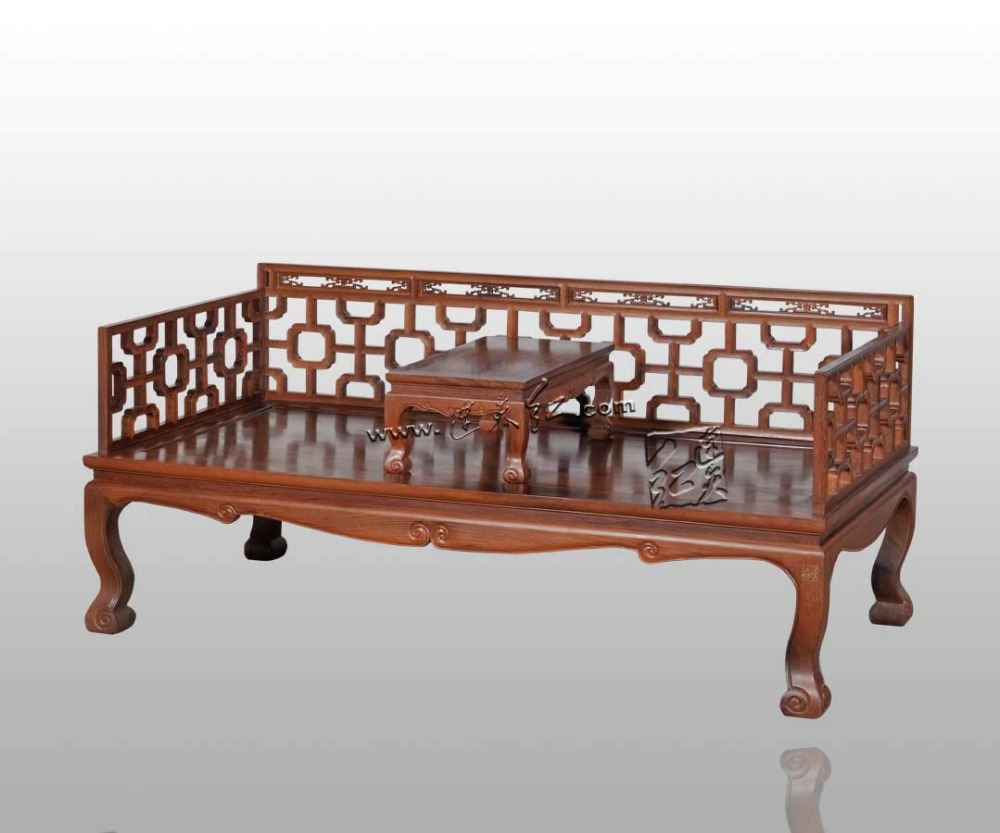 Carved Rosewood Furniture Living Room Sofa set Solid Wood Arhat Bed Chinese Classical Antique bedroom tea sets can be customized classical rosewood armchair backed china retro antique chair with handrails solid wood living dining room furniture factory set