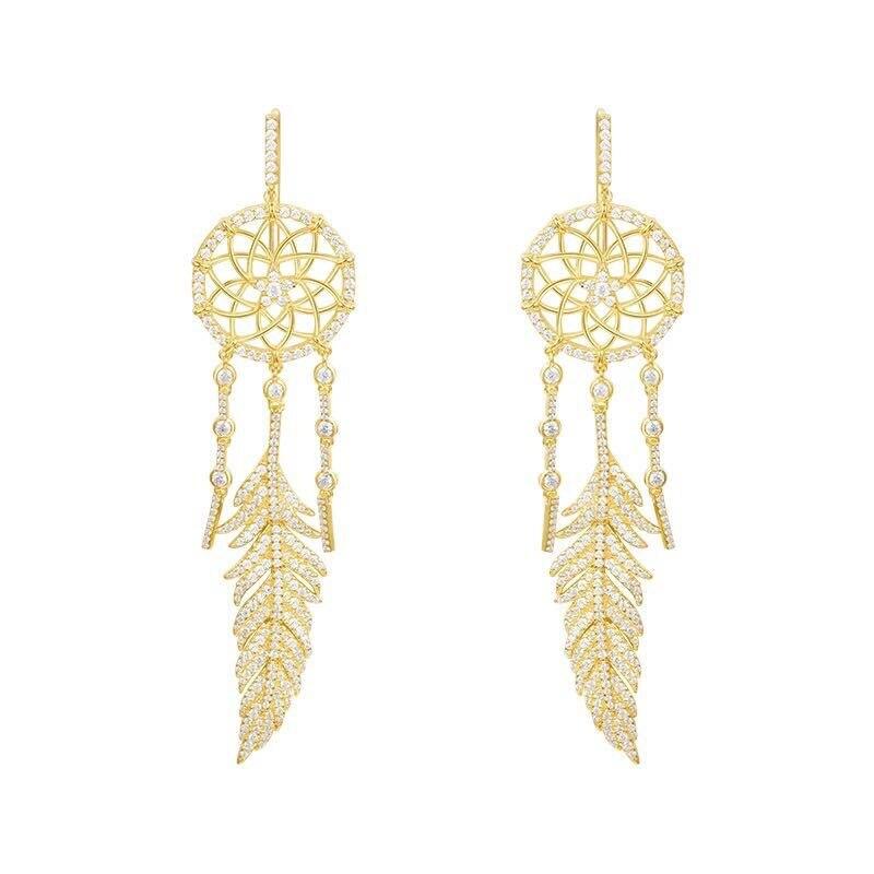 ZOZIRI S925 gold dream catcher Earring sterling silver , fashion monaco design zircon feather earrings dreamcatcher long earring