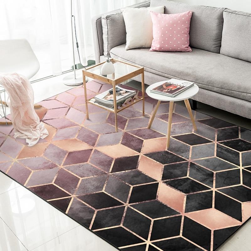 Golden Metal Geometric Area Rugs Living Room Large Size Carpets Modern Bedroom Sofa Table Decorative Tapete Non-Slip Floor Mats