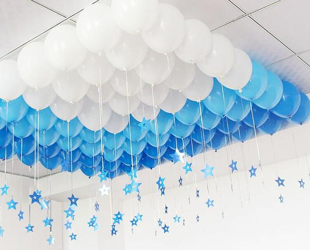 90Pcsset Ribbon Stars Blue White Balloons Wedding Decoration Latex