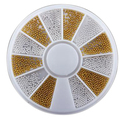 400 unids Nail Art Tips cristal Glitter Rhinestone 3D del arte del clavo de la decoración + rueda