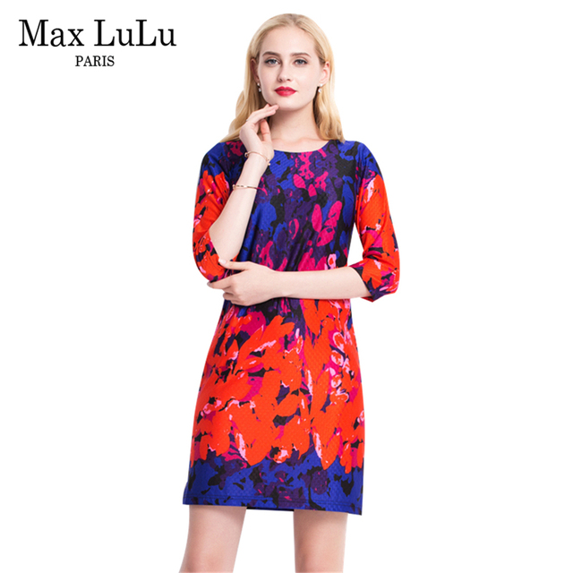 Dames Mode Kleding.Max Lulu Vintage Merk Kleding Rood Bloemen Vrouwen Feestjurken