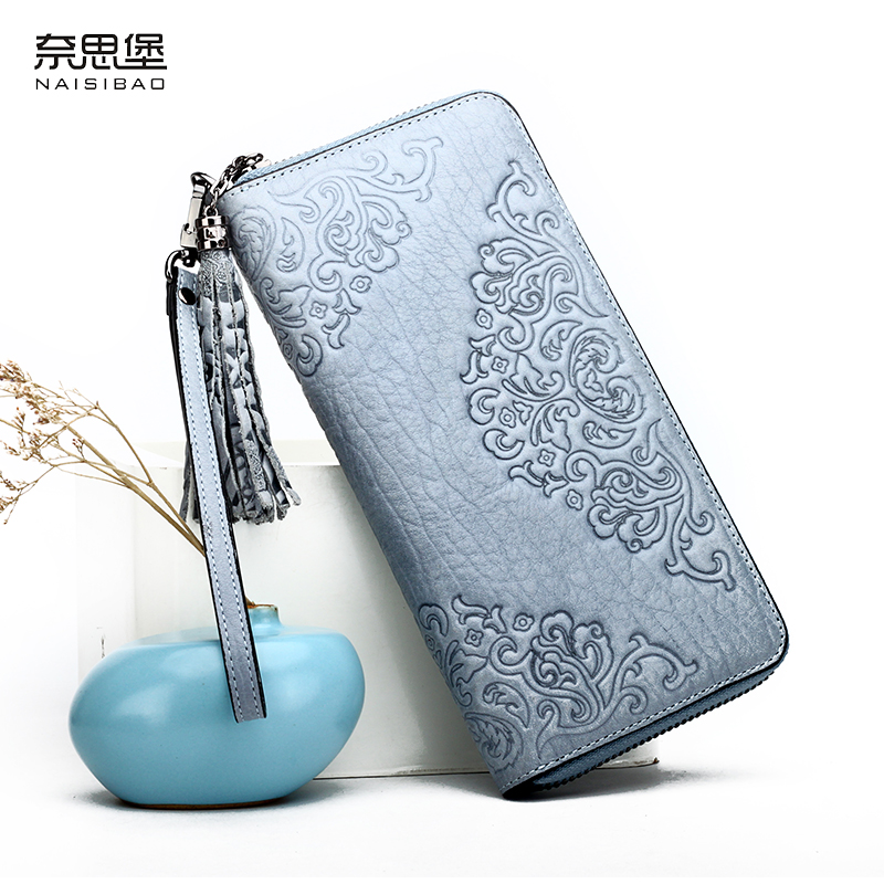 NAISIBAO Women Genuine Leather Flower Wallet Luxury Brand Purse Lady Clutch Bag Vintage Designer Long Printing Wallets