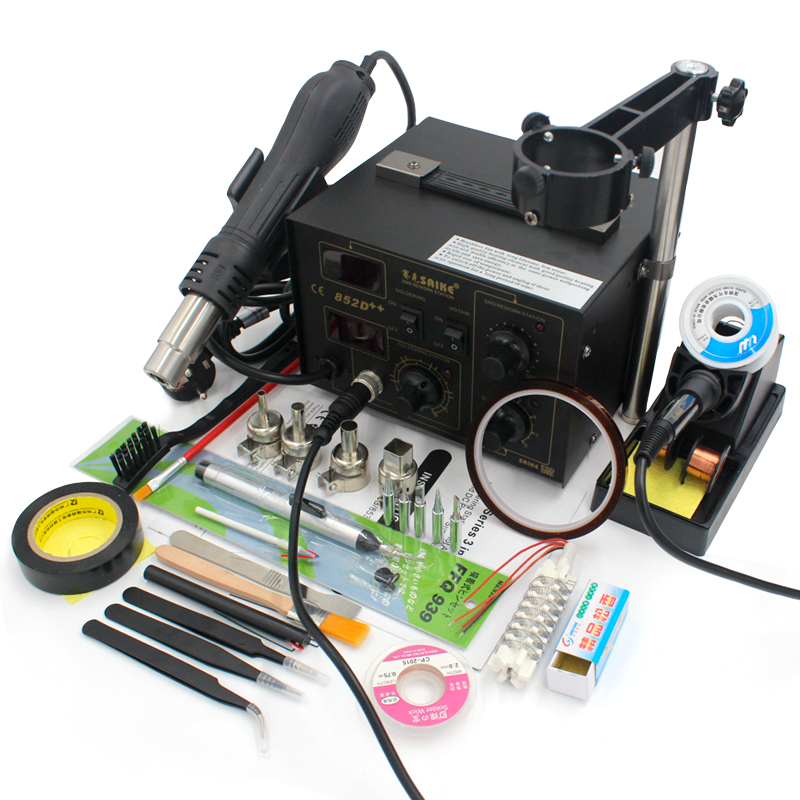Saike 852D Electric Soldering Station 220V 110V BGA Rework Station soldering iron Dryer holder Welding Kit