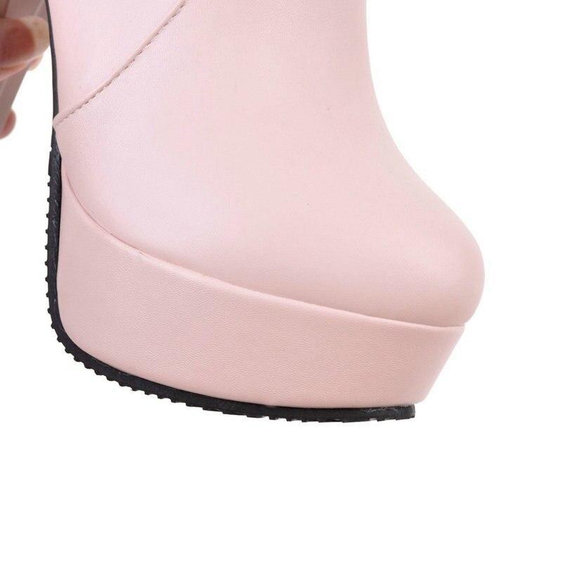 Otoño Toe Primavera Beige Talón blanco rosado 11 5 Tobillo Erogenous Las Ronda 2019 Zapatos De Moda negro Mujeres Alto Botas Cm Partido ZUFaFY