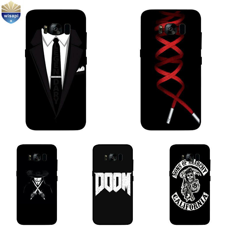 For Samsung Galaxy S8 S8Plus Soft TPU Black Shell for Galaxy S6 S7 Edge Plus Phone Case for C5 C7 Cover Dark Pattern Coque