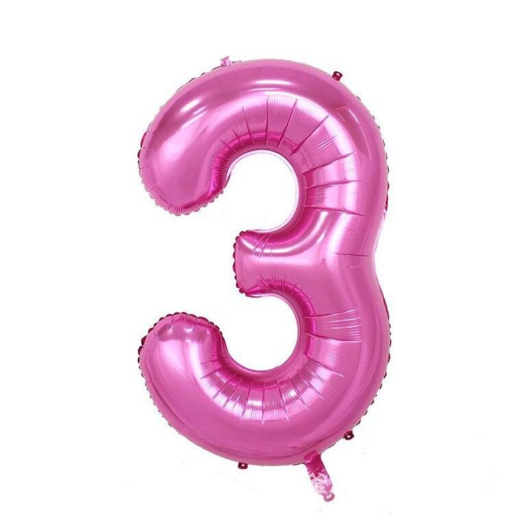 32 дюйма розовый синий 40 дюймов красный фольгированный шар большой гелиевый номер 0-9 Globo день рождения для детей Вечеринка мультфильм шляпа Декор - Цвет: pink 3