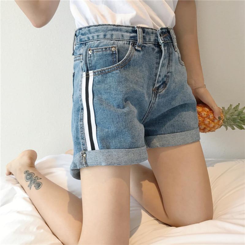 Mihoshop Ulzzang Korean Korea Women Fashion Clothing Summer High Waist Stripe Blue Denim Cowboy Shorts Pants