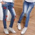 2017 весна детская одежда девушки джинсы причинным slim тонкой джинсовой девочка джинсы big девушки дети жан длинные брюки