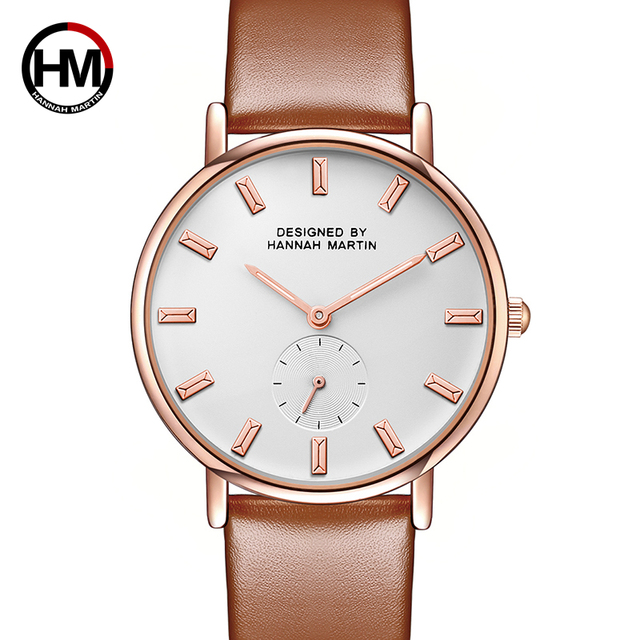 94a531a03876 Japan Quartz Movement women Fashion Brand Clock Ladies Rose Gold Leather  Strap Nylon Watches Small second Dial Work Dropshipping-in Women s Watches  from ...
