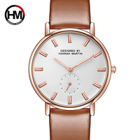 Japan Quartz Movement women Fashion Brand Clock Ladies Rose Gold Leather Strap Nylon Watches Small second Dial Work Dropshipping