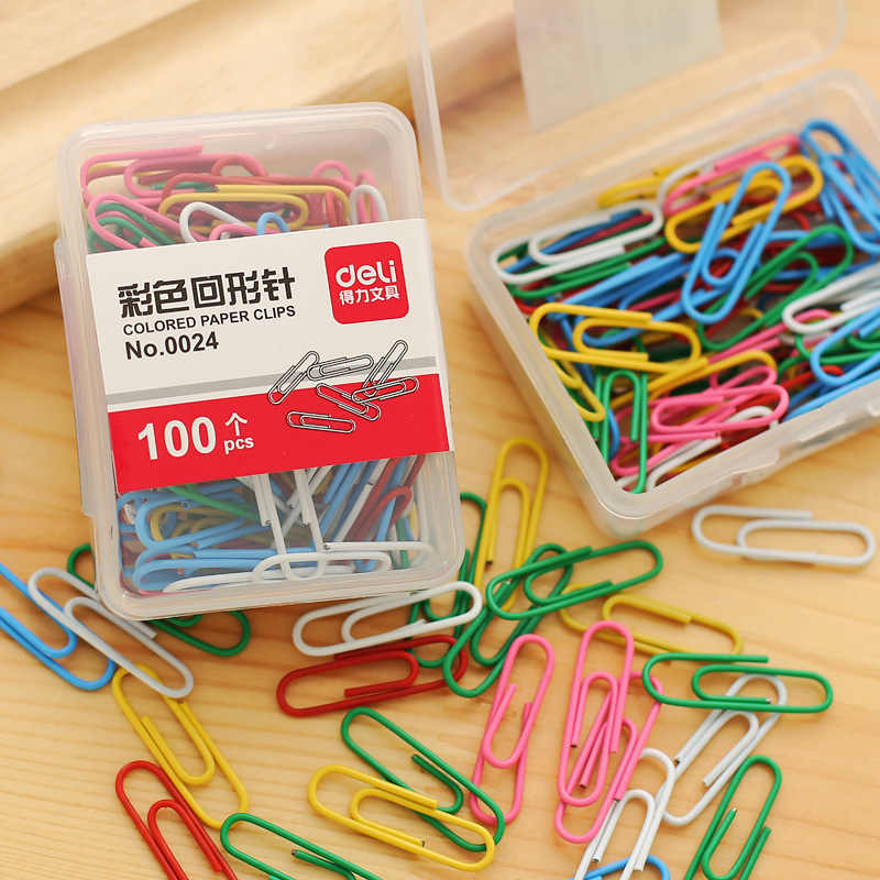 100 pcs/box Metal Paper Clips candy Color Sorting Clips Office Supplies Student cute Stationery