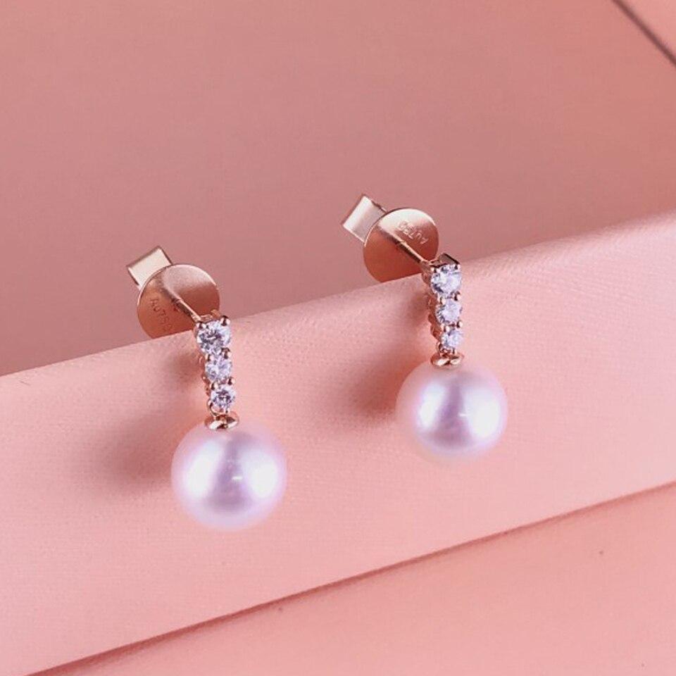 8-8.5mm Japan Akoya Sea Pearls Earring Studs with 0.2Carat Natural Diamonds 18K Solid Rose Gold Earring Jewelry украшение на шею mikimoto 8 8 5mm akoya 18k