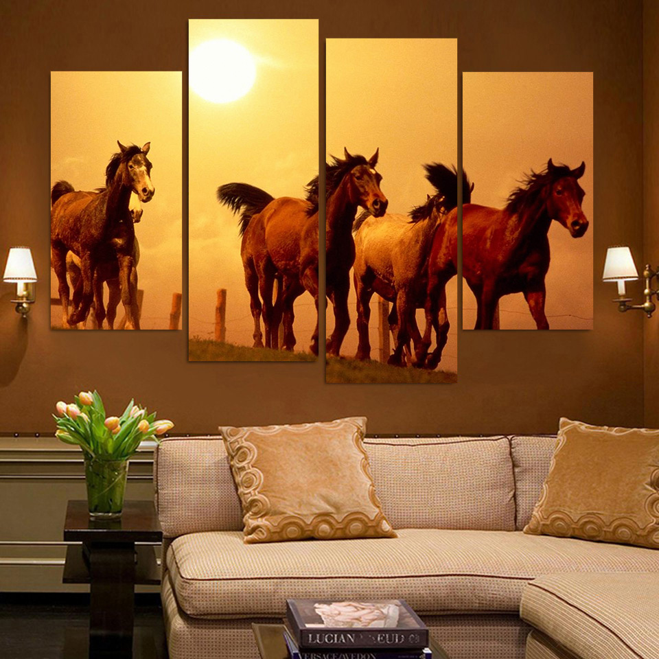 HD Printed Modular Abstract Picture Frame Canvas 4 Panel Animal Horses Sunset Farm Landscape Home Decor Wall Art Painting PENGDA