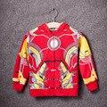 2016 Nuevos Niños de la Llegada Ropa de Abrigo Niños Ropa de la Historieta del Superhéroe Spiderman Capitán América Cremallera Con Capucha Niños Chaquetas