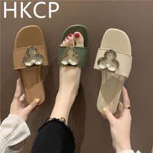 HKCP Flat bottom slippers female summer 2019 new flowers one word drag students wild open toe wearing C273