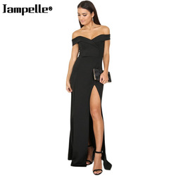 Women Sexy Off Shoulder Sleeveless Female Dress Side High Slit Casual Solid Color Bodycon Elegant Maxi Party Dress Sales 1