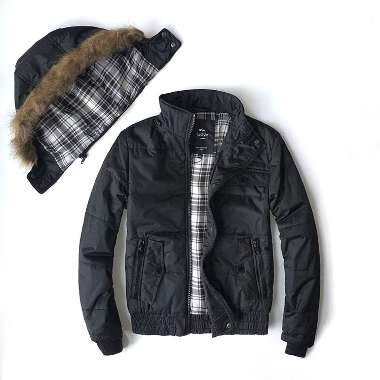 Men Coats Winter 2017 Jacket Men Fashion Thermal Warm Cotton Padded Parka Black Detachable Hoody Size S -XXL