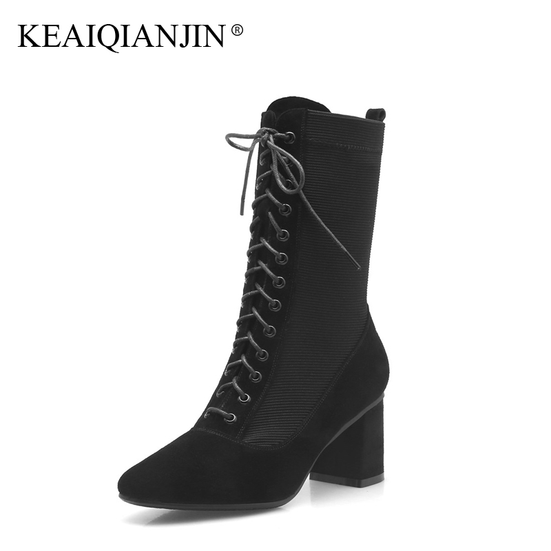 KEAIQIANJIN Woman Gothic Shoes Genuine Leather Rivet Punk Boots Autumn Winter Black Lace Up Genuine Leather
