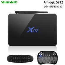 Shinsklly X92 Android ТВ Box Amlogic S912 Восьмиядерный Оперативная память 2 г Встроенная память 16 г/32 г Умные телевизоры коробка Android 6.0 wifi 4 К 3D плеер Декодер каналов кабельного телевидения