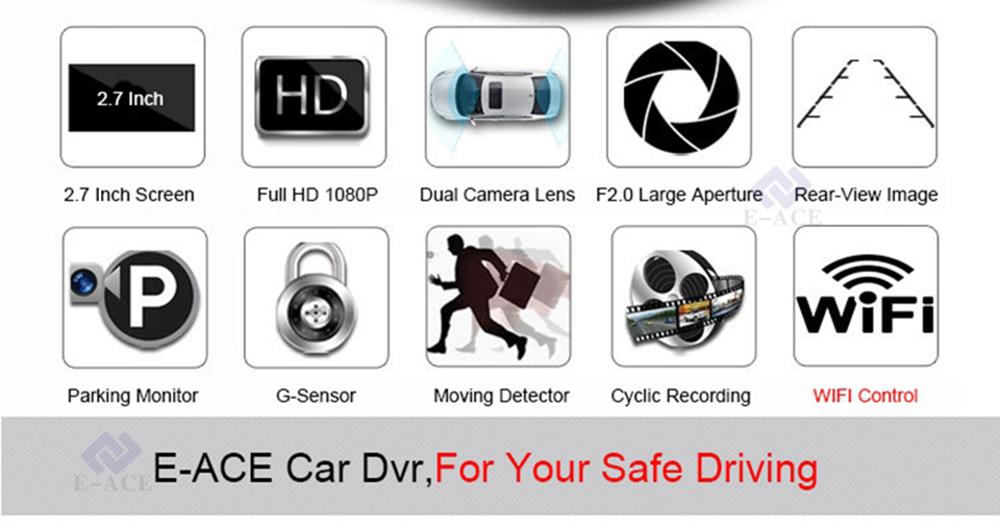 E-ACE Hidden Wifi Mini Car Dvr Full HD 1080P Video Recorder Night Vision Dvrs Auto Dash Cam Dual Camera Lens Automotive Car Cams 4