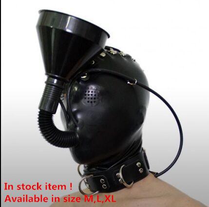 El Envío Gratuito! nueva Llegada! hood fetish máscara sexy con cremallera trasera abrochado con embudo tubo de látex de caucho campana m/l/xl disponible