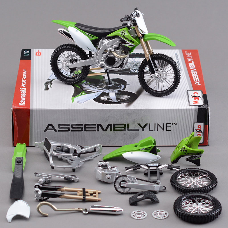 KWSK KX450F Off-Road Motorcycle 1/12 Assembly Toy Kids Gift Mini Moto Diy Diecast Models Toy For Gift Collection