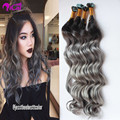 Balayage Ombre two tone color human remy skin weft heart shape tape in extensions 40pcs 1b/gray no shedding no tangle