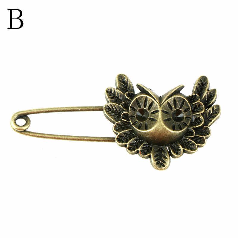12 Panjang Pin Pengaman Vintage Pin Bros Hewan Tengkorak Bentuk Kupu-kupu Ornamen untuk Syal Sweather Mantel Tas