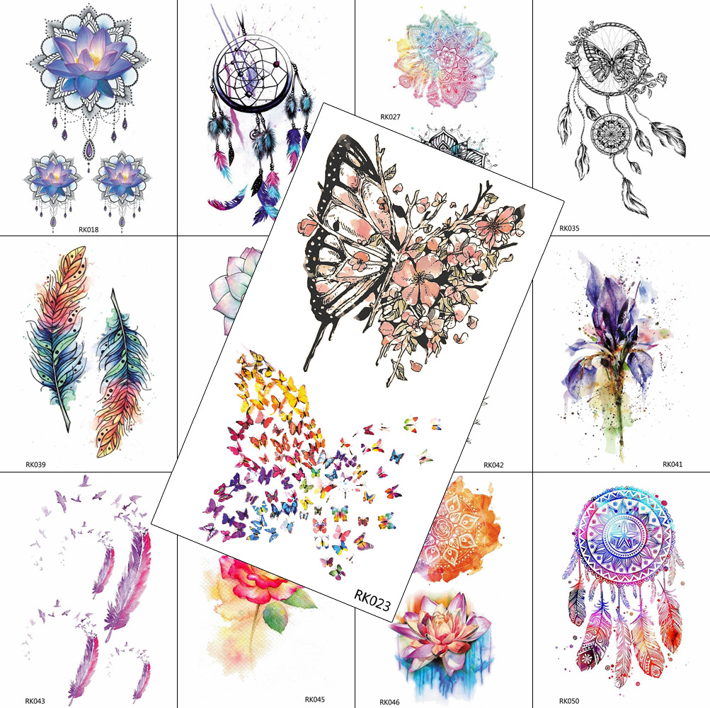 Watercolor Fake Temporary Tattoos Dreamcatcher Sticker Flower Butterfly Waterproof Tattoo For Women Kids Arm Tatoos Body Art