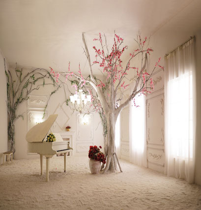 5x7ft Elegant Indoor Piano Tree Vinyl Backdrops For