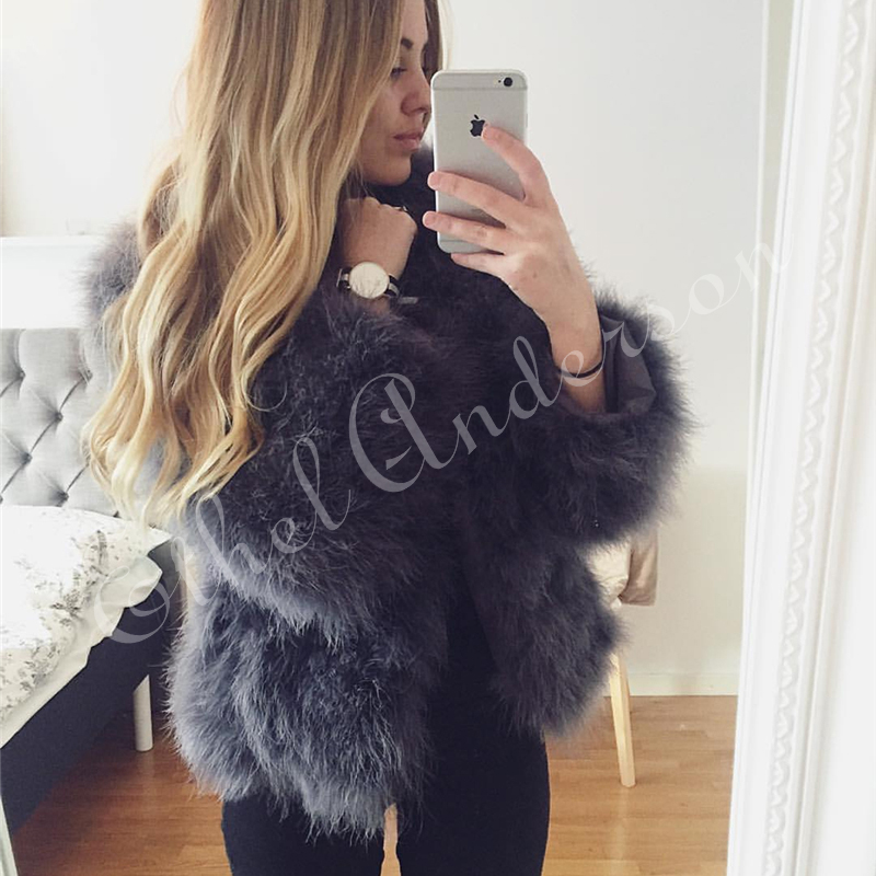 New Season's 100% Fluffy Feather Fever Fur Jackets Handmade Knitted Genuine Ostrich Fur Coat Women Retail Natural Fur Jacket