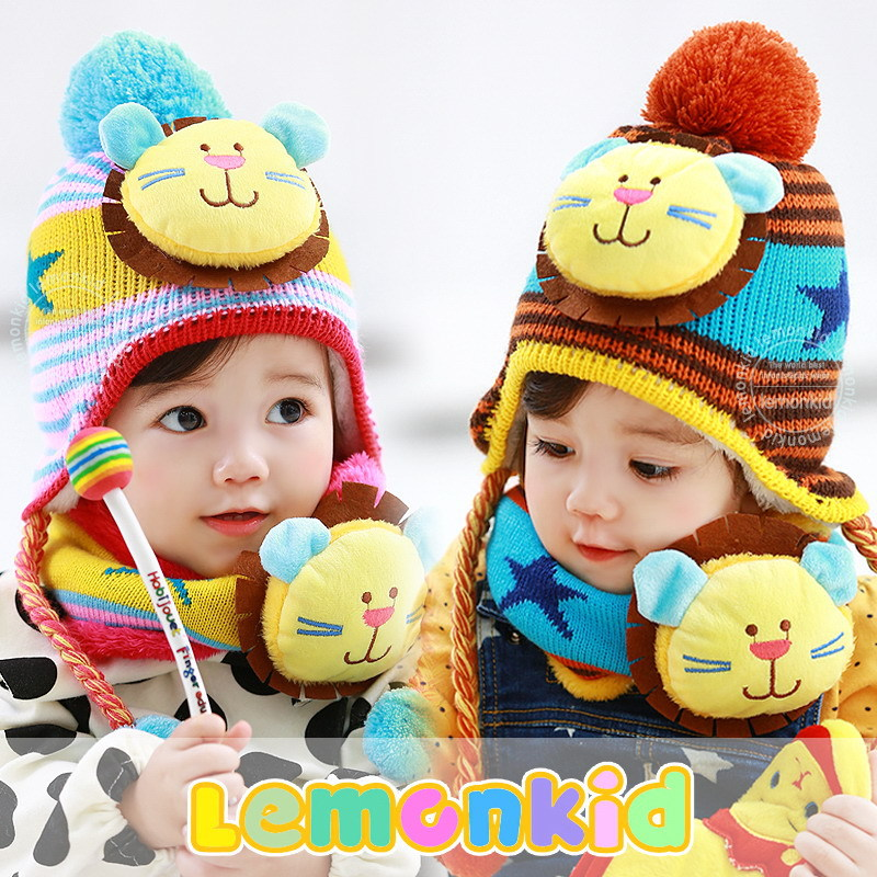 2017 Promotion Boys Character Novelty Cotton Korean Children New Baby Hat Winter Scarf Suit Double Thick