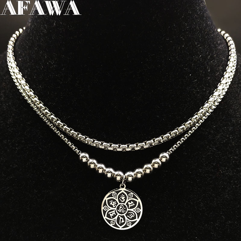 2019 Fashion YOGA Lotus Stainless Steel Statement Necklace for Women Silver Color Necklace Jewellery accesorios mujer N186707